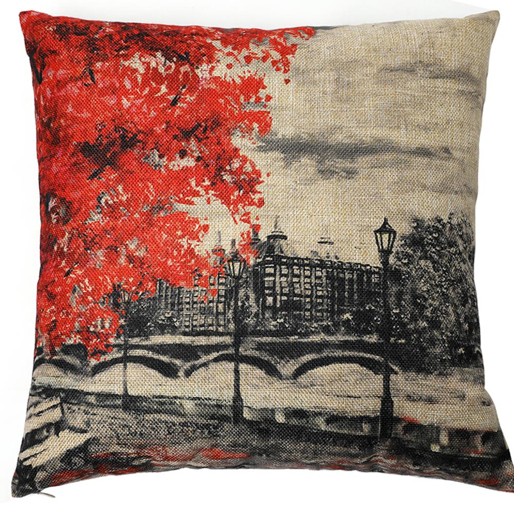 Kate Red Tree London Style Decorative Pillow Cover 18 x 18 Inches Cotton Linen Blend Throw Pillow Case Cushion Covers