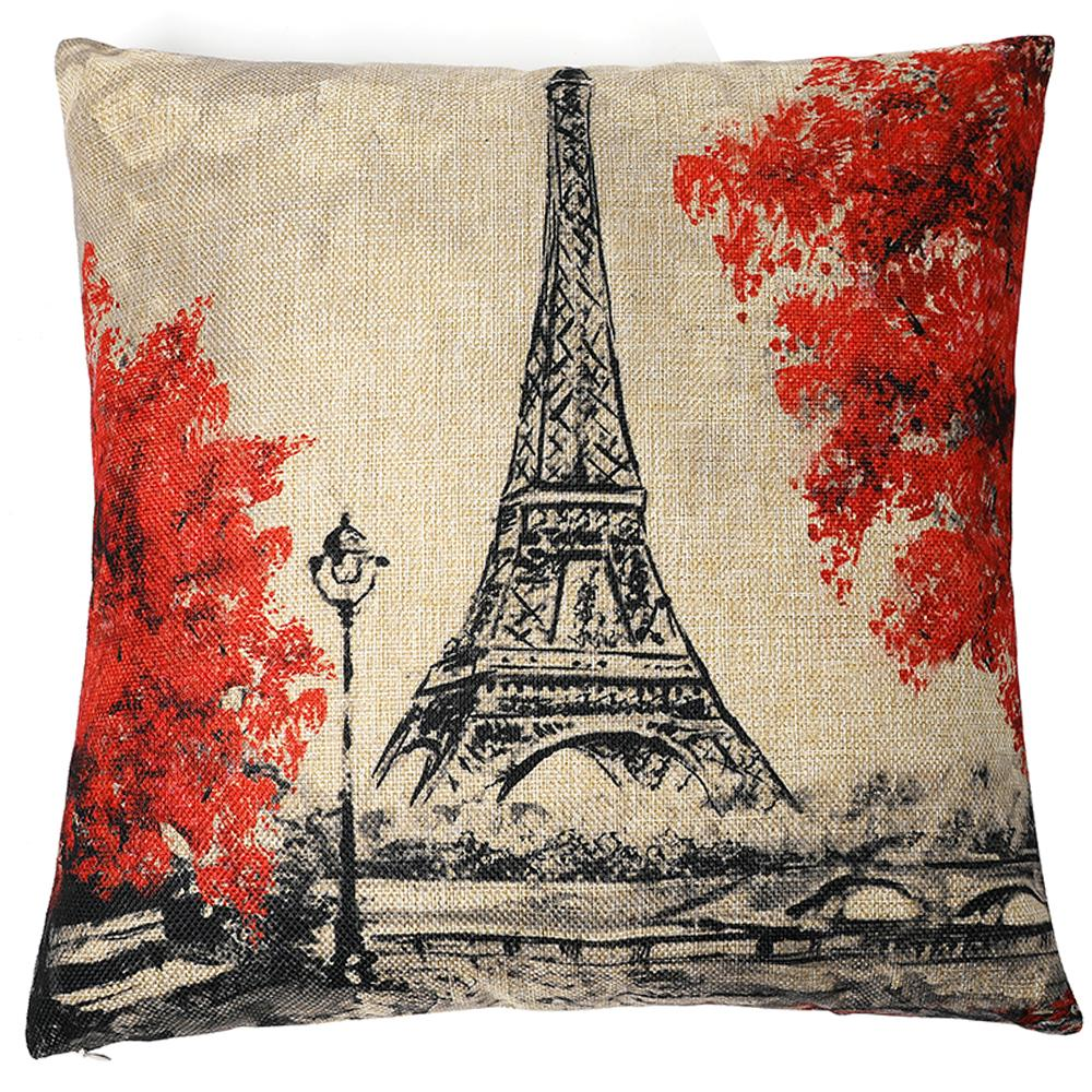 Kate Pillow Cover Paris Eiffel Tower Throw Pillow Covers Decorative Pillowcase for Couch 18 x 18 Inches Oil Painting Cotton Linen Blend Pillows Cases
