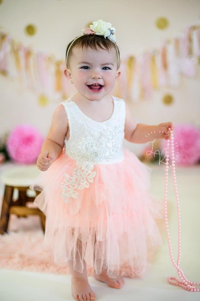 Kate Pink and Gold with Polkadots Birthday Backdrop for Photography Designed by Mandy Ringe Photography