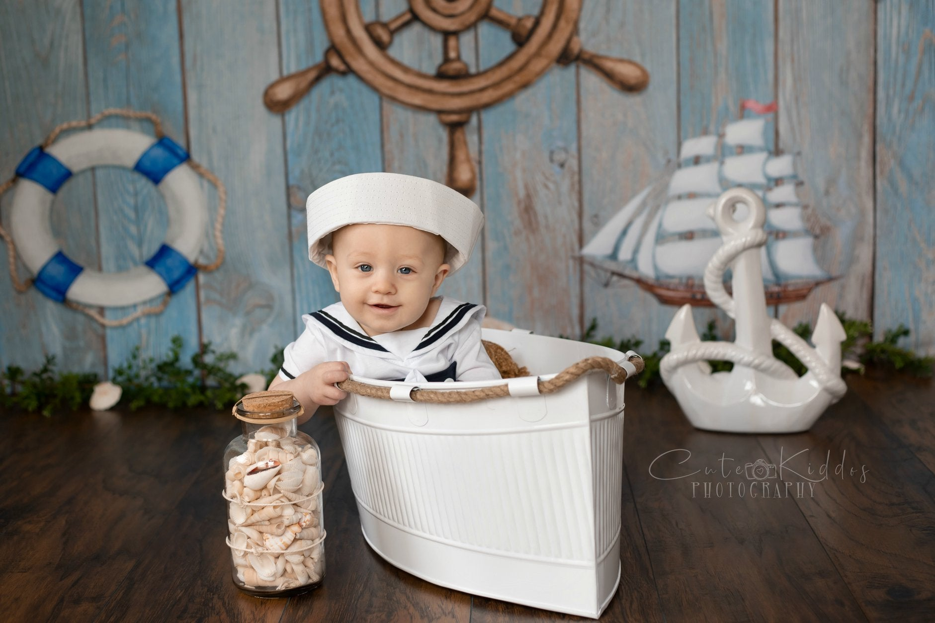 Load image into Gallery viewer, Kate Adventure Nautical Sailor Children Backdrop for Photography Designed by JFCC