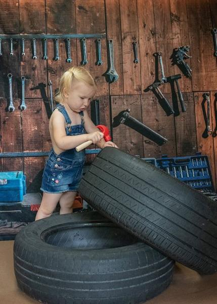 Load image into Gallery viewer, Kate Tool shelf against a table vintage garage backdrop for boy/Father's Day