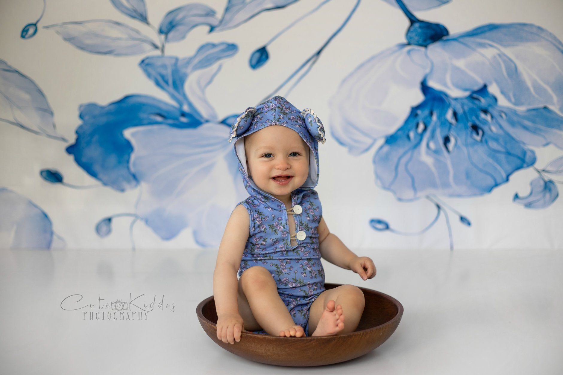 Load image into Gallery viewer, Kate Retro Blue Flower Backdrop for Photography