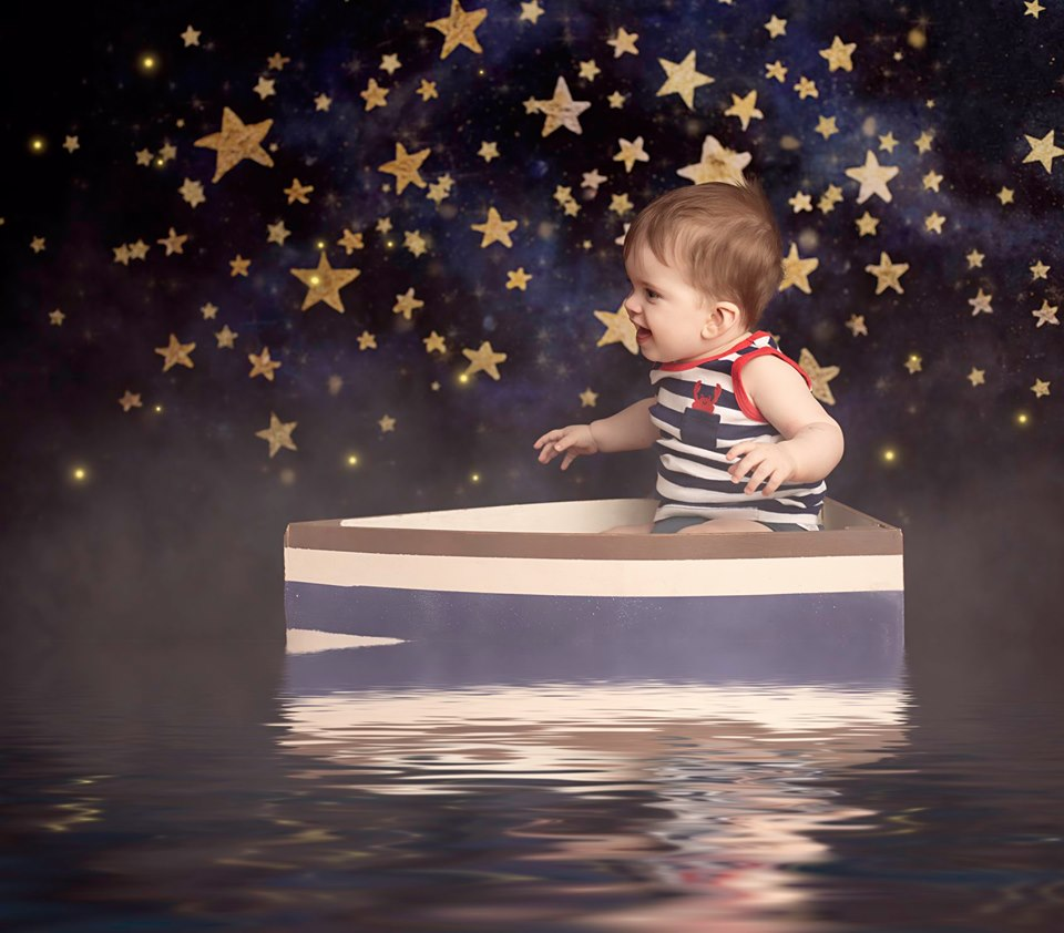 Load image into Gallery viewer, Kate Night Sky with Gold Stars Children Backdrop for Photography Designed by Mandy Ringe Photography