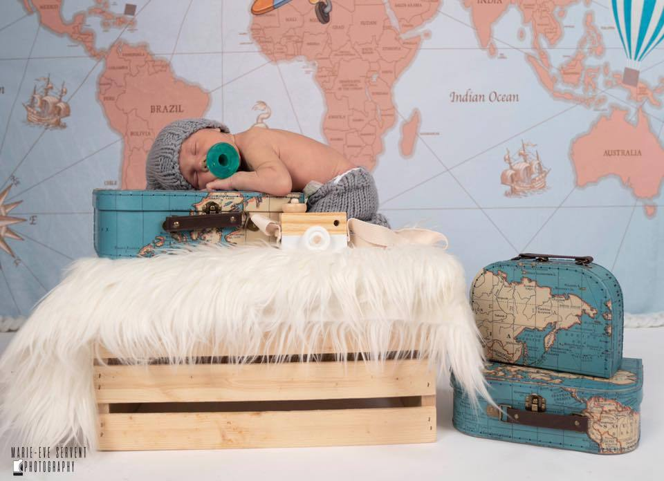 Load image into Gallery viewer, Kate Travel Around the World Pilot Children Backdrop for Photography Designed by JFCC
