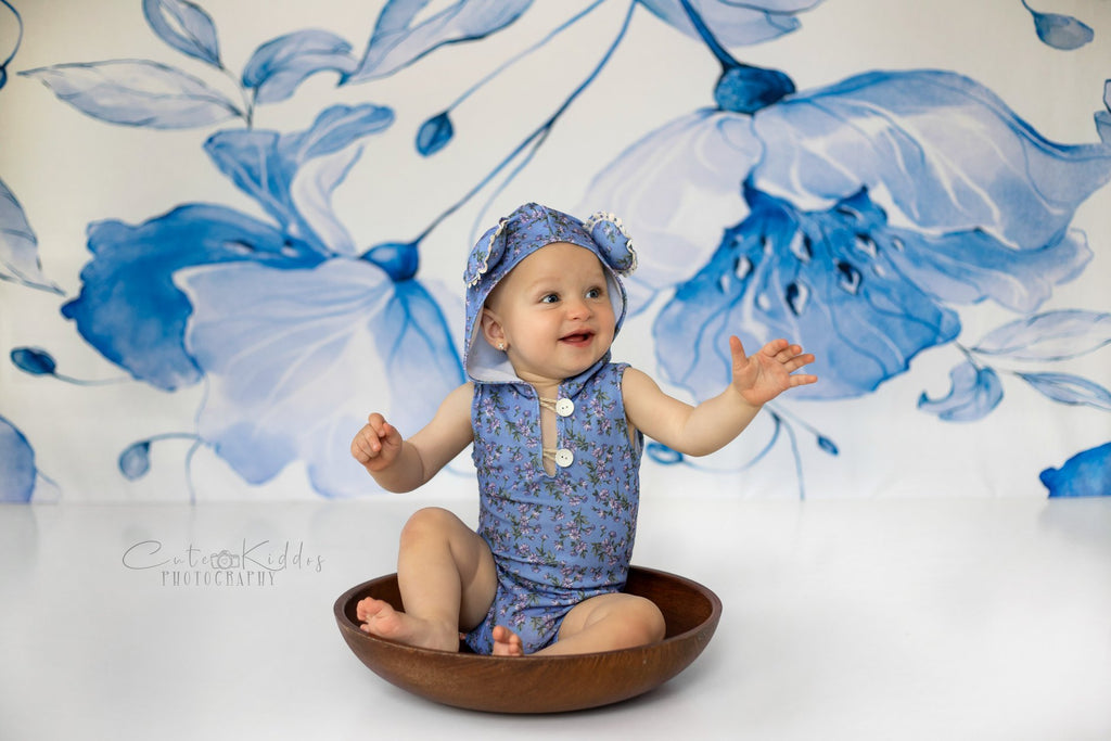 Kate Retro Blue Flower Backdrop for Photography
