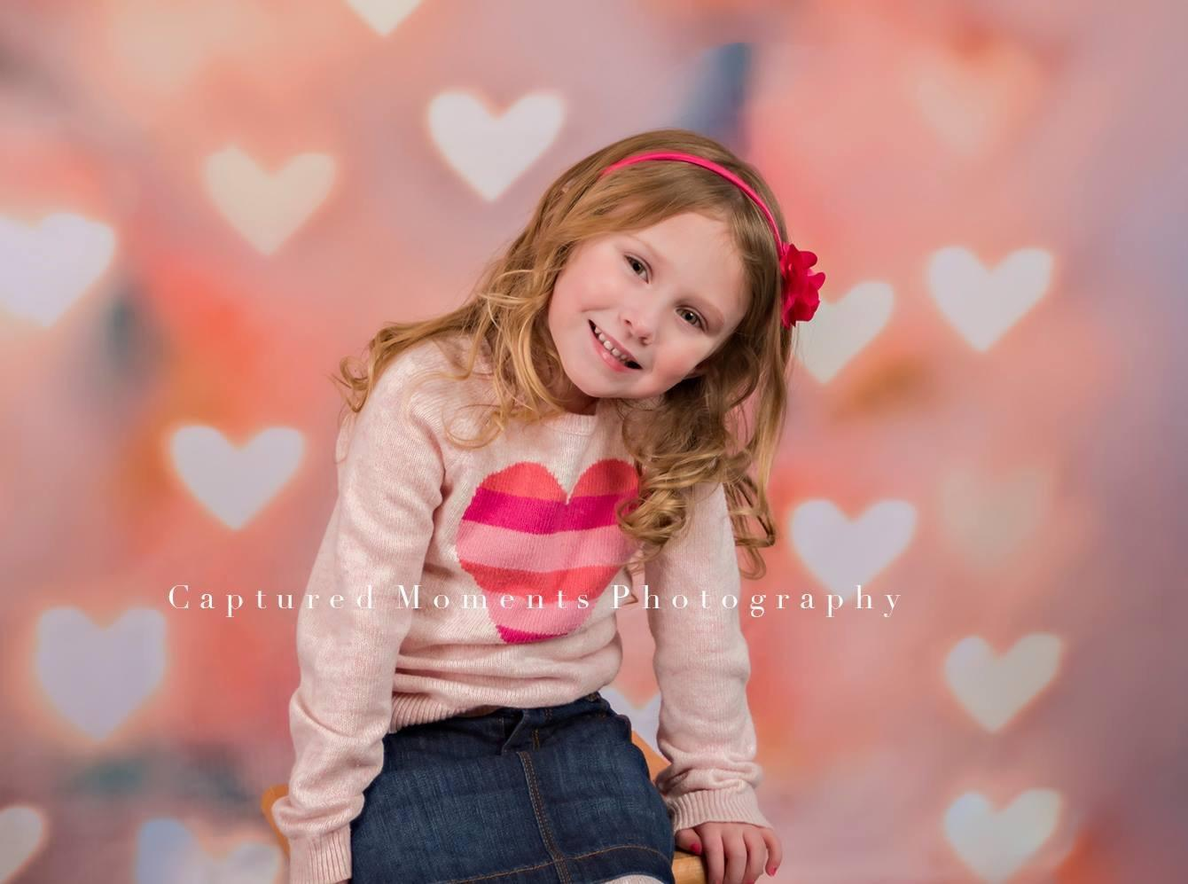 Load image into Gallery viewer, Kate Bright Light Pink Love Heart Valentine's Day Backdrops for Children Photography - Kate backdrops UK