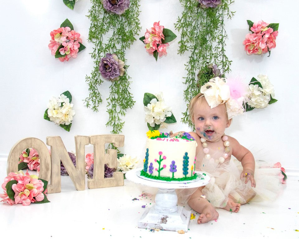 Load image into Gallery viewer, Kate 1st Birthday Flower Grass Decoration Backdrop for Photography Designed By Leann West