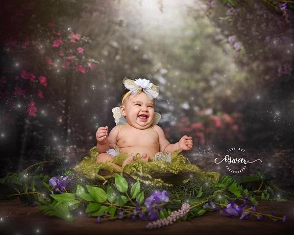 Kate Pink Flower Garden Fairy Lights spring Backdrop for Photography Designed by Pine Park Collection