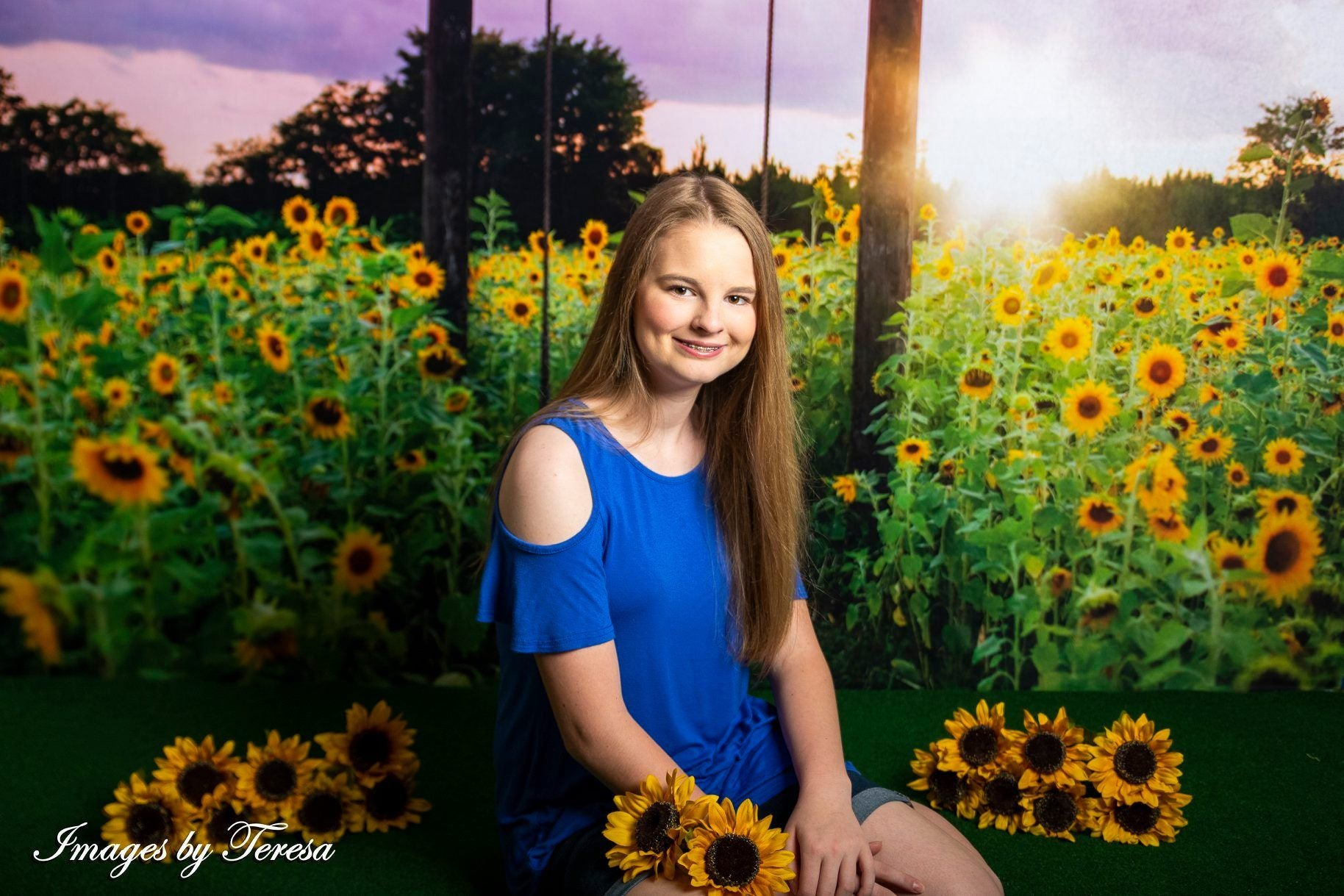 Load image into Gallery viewer, Kate Summer Sunflower Swing Backdrop Designed by Pine Park Collection