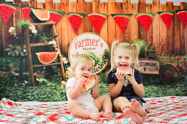 Kate Sunset Fence With Watermelons Children Backdrop for Photography Designed by Stephanie Gabbard
