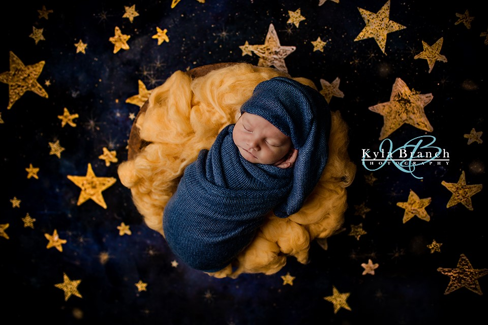 Kate Night Sky with Gold Stars Children Backdrop for Photography Designed by Mandy Ringe Photography