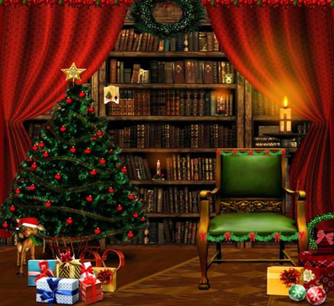 Katebackdrop:Kate Red Curtain Bookshelf Photography Backdrops Christmas Trees Background For Baby