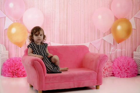 Kate Pink and Gold Birthday Glitter Backdrop for Photography Designed By Shutter Swan