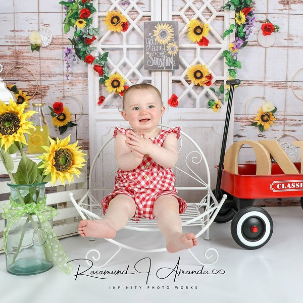 Load image into Gallery viewer, Kate You Are My Sunshine Vintage Wall Summer Sunflower Mother's Day Backdrop for Photography Designed by Staci Lynn Photography