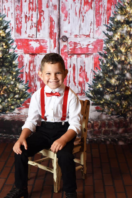 Kate Retro Red Wooden Door Christmas Children Backdrop for Photography Designed by Pamela Gross Hughes