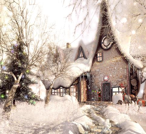 Load image into Gallery viewer, Katebackdrop£ºKate Merry Christmas Photography Backdrop Theme Tree fairy tale house