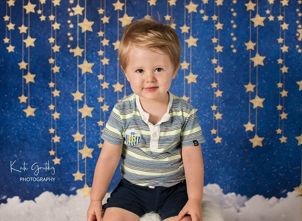 Kate Children Baby shower Bule Wall with Stars and Clouds Backdrop for Photography Designed by JFCC