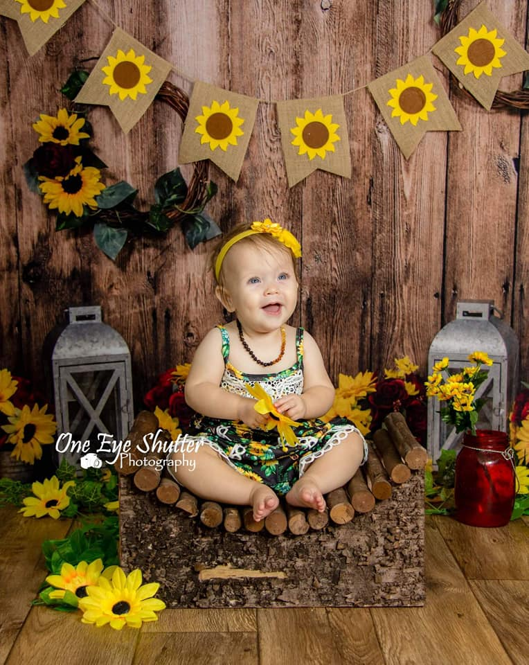 Kate Summer Wedding Children Wood Wall with Sunflowers backdrop designed by Staci Lynn Photography