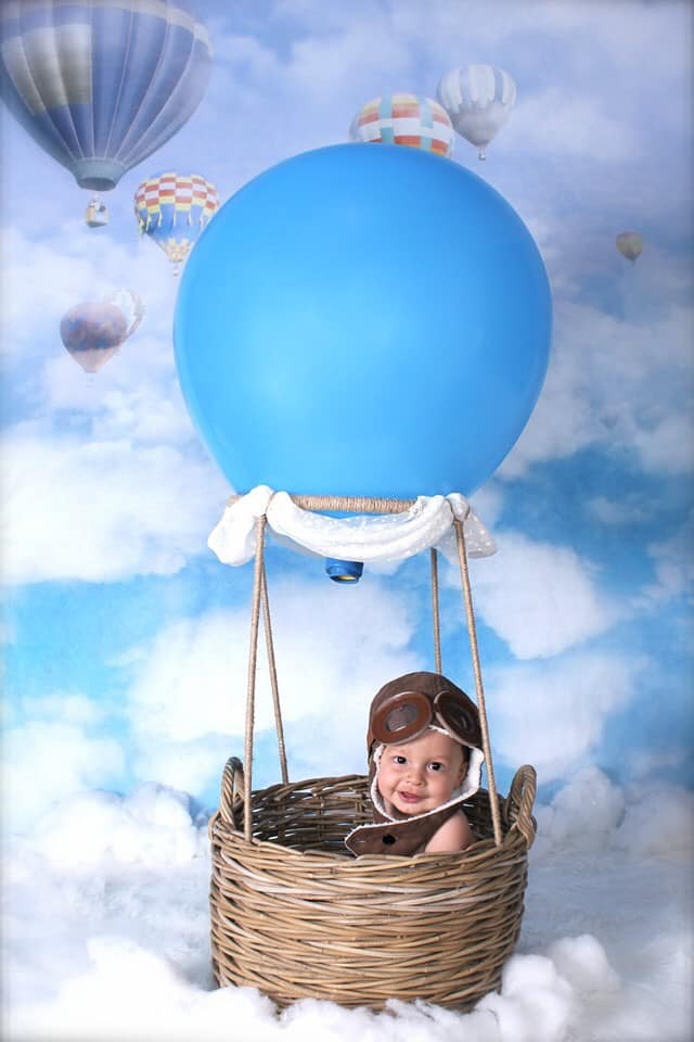 Kate Blue Sky Cloudy Hot Air Colored Balloon Backdrop For Children Photography