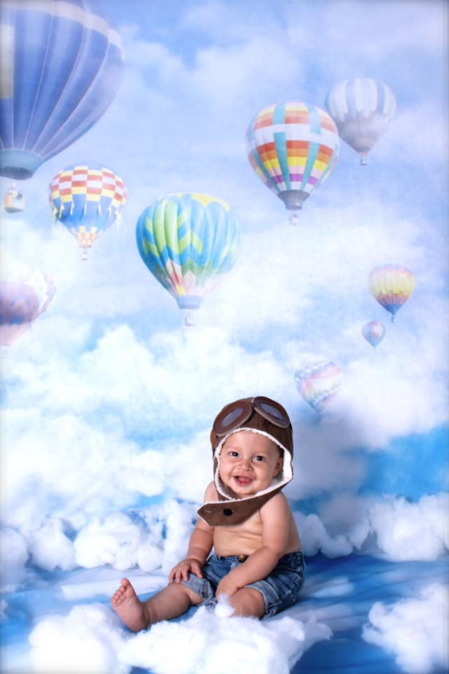 Load image into Gallery viewer, Kate Blue Sky Cloudy Hot Air Colored Balloon Backdrop For Children Photography
