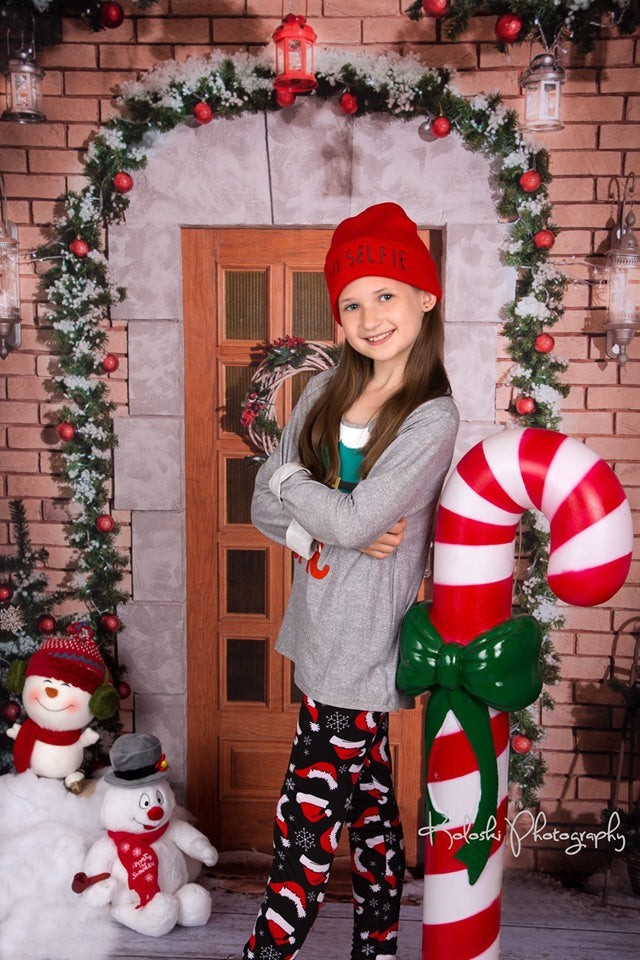 Kate Holiday Door Christmas Backdrop for Photography