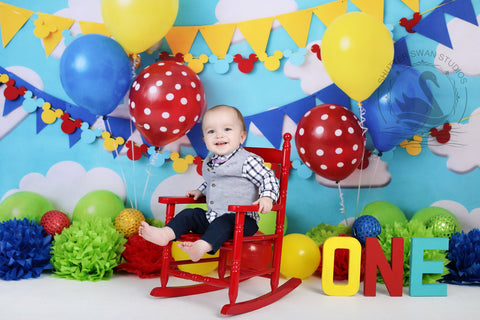 Kate Mickey Party with colorful balloons Children Backdrop for Photography Designed by Tyna Renner