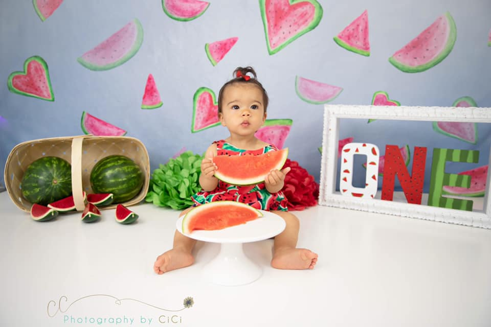 Load image into Gallery viewer, Kate Summer Watermelon Faded Love Backdrop designed by Arica Kirby