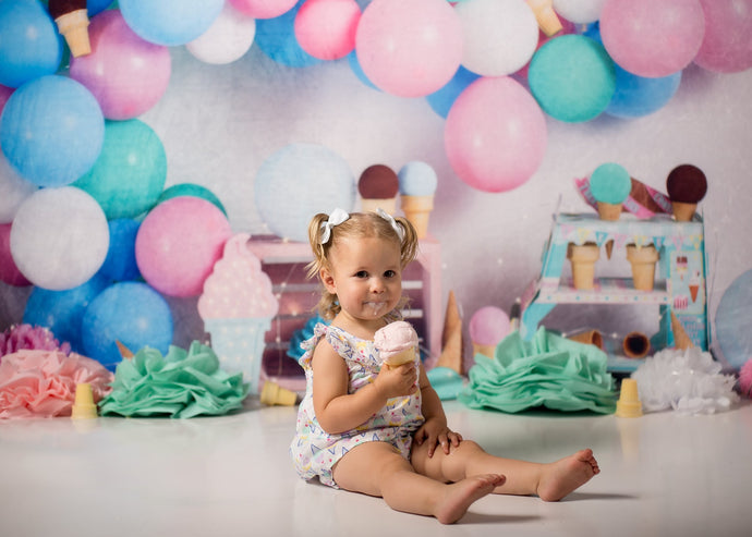 Kate Birthday Cake Smash Ice-cream Balloons Children Summer Backdrop Designed by Megan Leigh Photography
