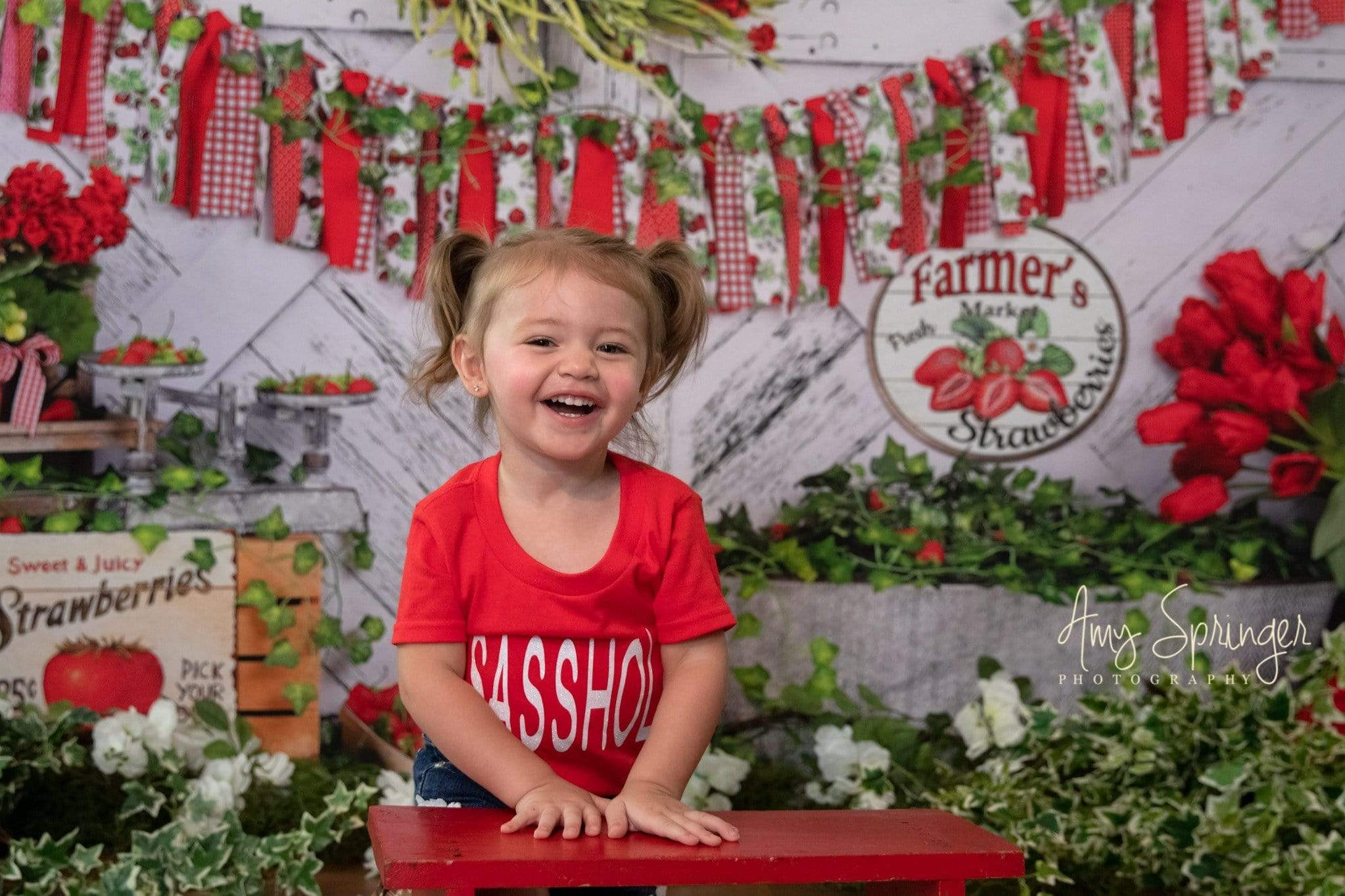 Load image into Gallery viewer, Kate Summer Strawberry White Wooden Board With Banners Birthday Backdrop  Studios