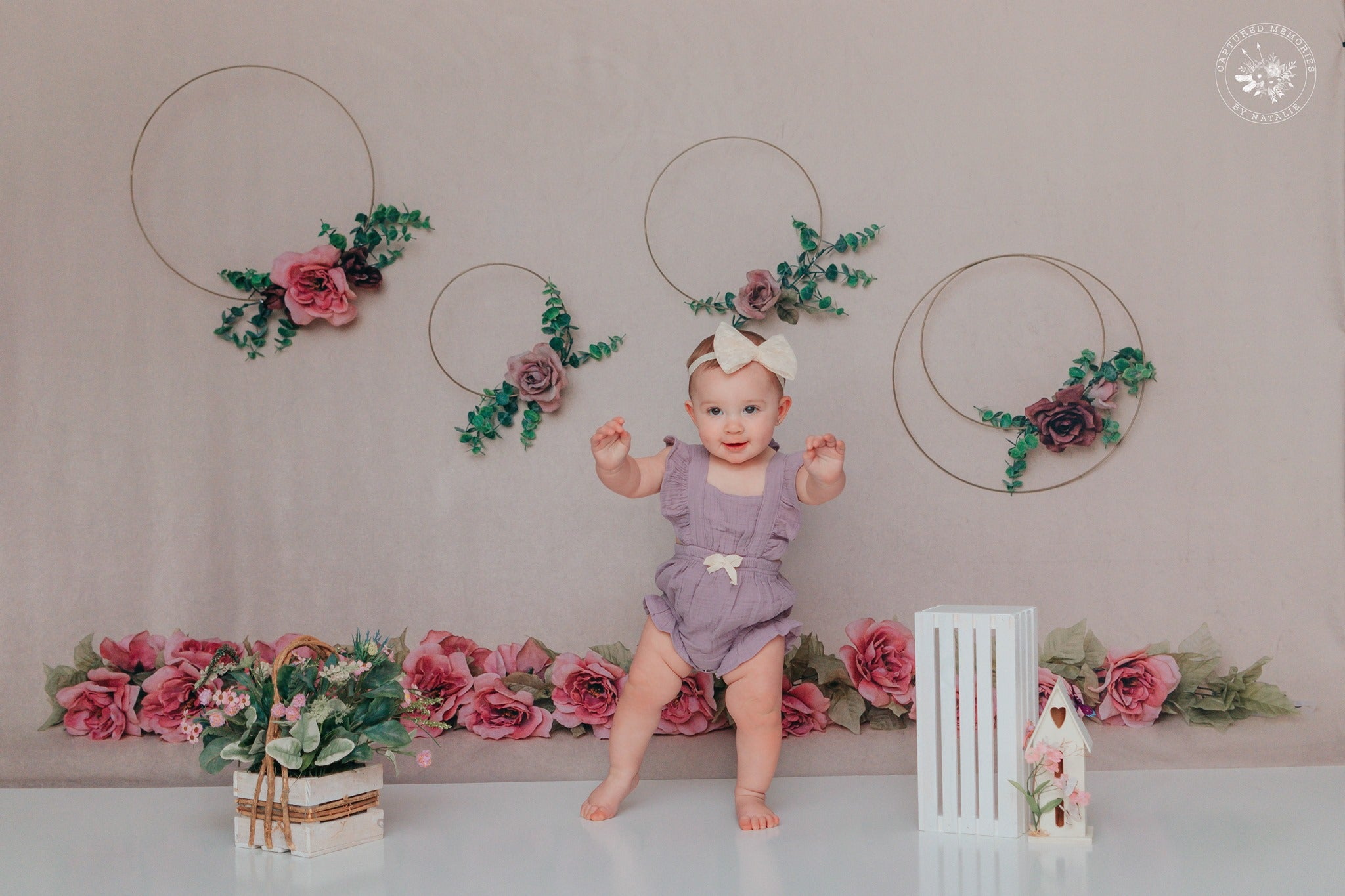Load image into Gallery viewer, Kate Art Color Garland Rose Flower Children Backdrop for Photography Designed by Cassie Christiansen