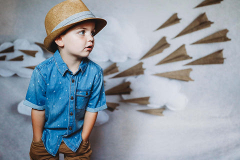 Kate Paper Airplane with Clouds Children Backdrop for Photography Designed by Danette Kay Photography