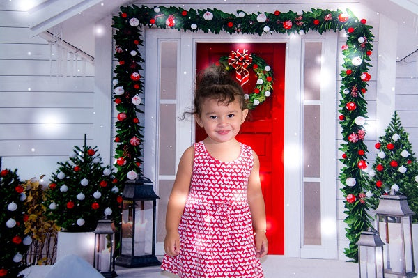 Kate Christmas Red Door White House with Trees Decoration Backdrop for Photography