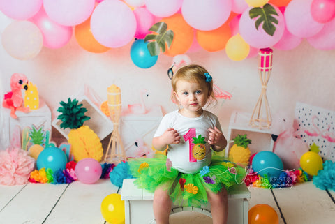 Kate Flamingo Party Children Balloons Backdrop for Photography Designed by  Laura Lee Photography