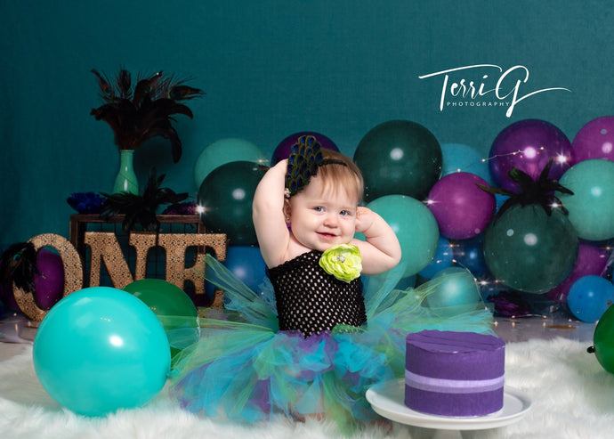 Kate Pine Green Peacock Feather Balloons with Neon Lights Children Birthday Backdrop for Photography Designed by Cassie Christiansen
