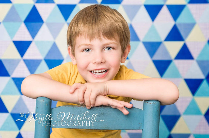 Kate Blue Triangle Seamless Pattern Backdrop Designed By Krystle Mitchell Photography