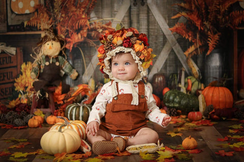 Kate Autumn Harvest Maple leaf and Pumpkin Backdrop for Photography Designed by Shutter Swan