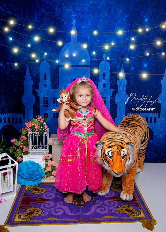 Load image into Gallery viewer, Kate Arabian Castle Starry Sky Backdrop for Children Photography Designed By Jerry_Sina