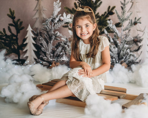 Kate Simple Christmas Trees with lights in Snow Backdrop for Photography Designed By Mandy Ringe Photography