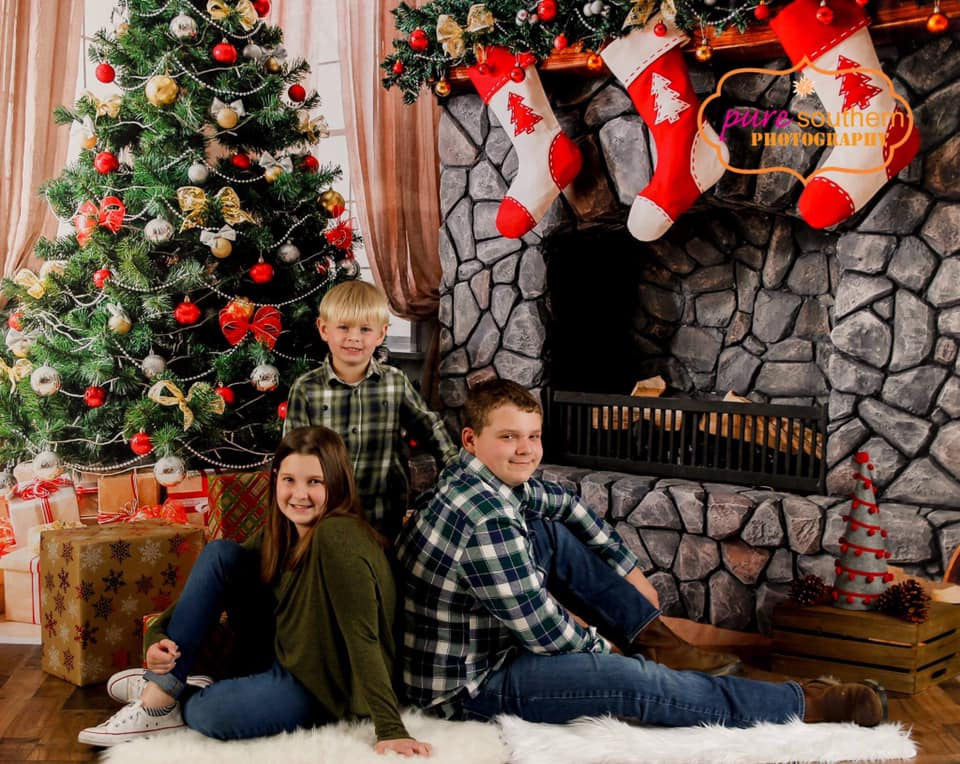 Kate Christmas Backdrop sock fireplace home decoration for Photography