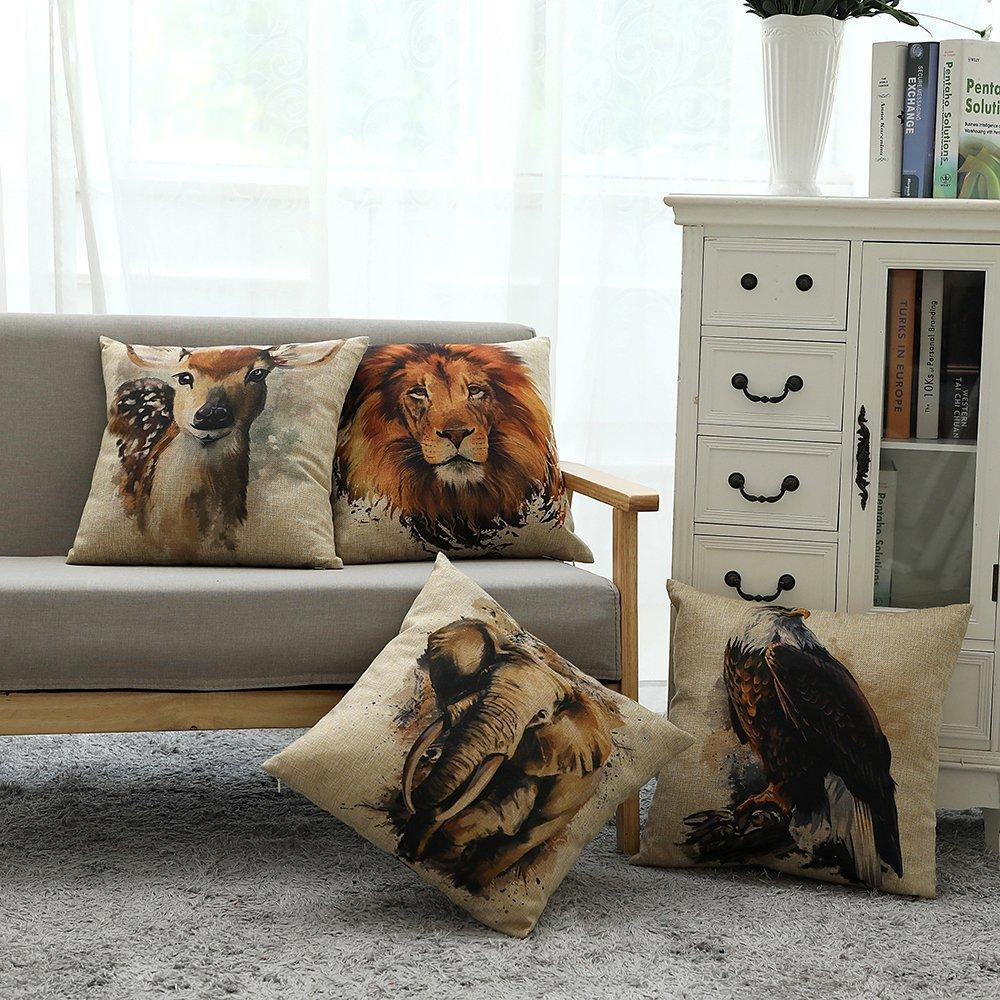 Kate 4 Packs Animal Pattern Pillow Cushion Cases 18 x 18 Inches - Kate backdrops UK