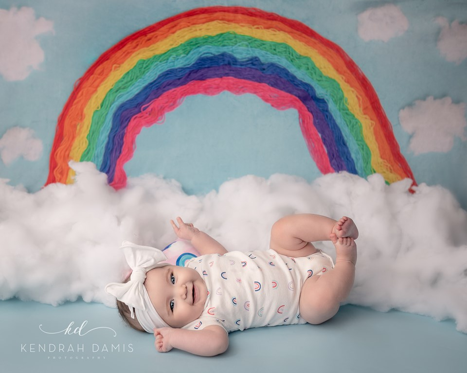 Kate Rainbows and Clouds Children Backdrop for Photography Designed by Erin Larkins