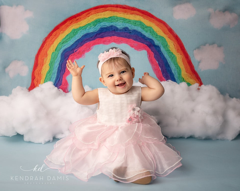 Load image into Gallery viewer, Kate Rainbows and Clouds Children Backdrop for Photography Designed by Erin Larkins