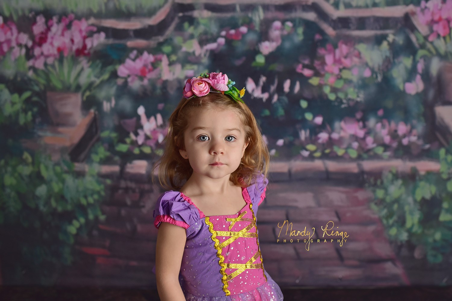 Load image into Gallery viewer, Kate Castle in the Flowers with Pink Clouds Children Backdrop for Photography