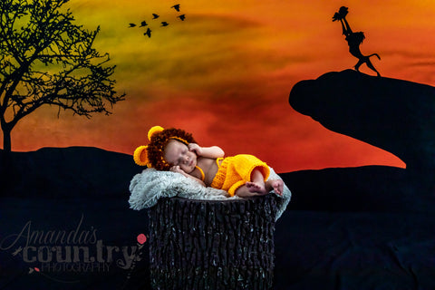 Kate Lion King African Sunset Scenery Backdrop for Photography Designed By Staci Lynn Photography