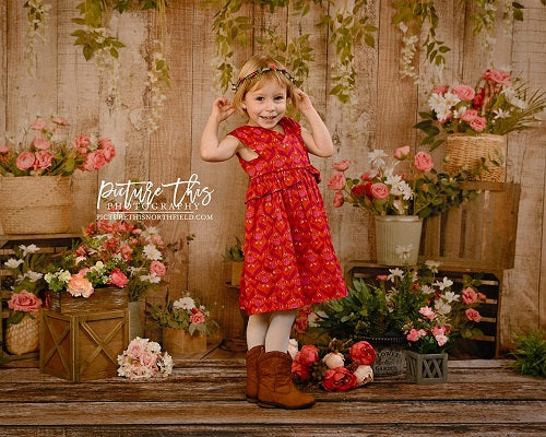 Kate Pink Floral Wooden Spring/Mother's Day Backdrop Designed by Jia Chan Photography
