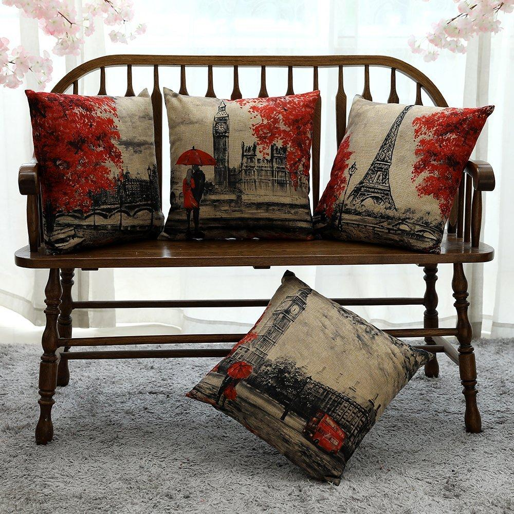 Kate 4 Packs Scenery Pattern Pillow Covers Cases 18 x 18 Inches - Kate backdrops UK