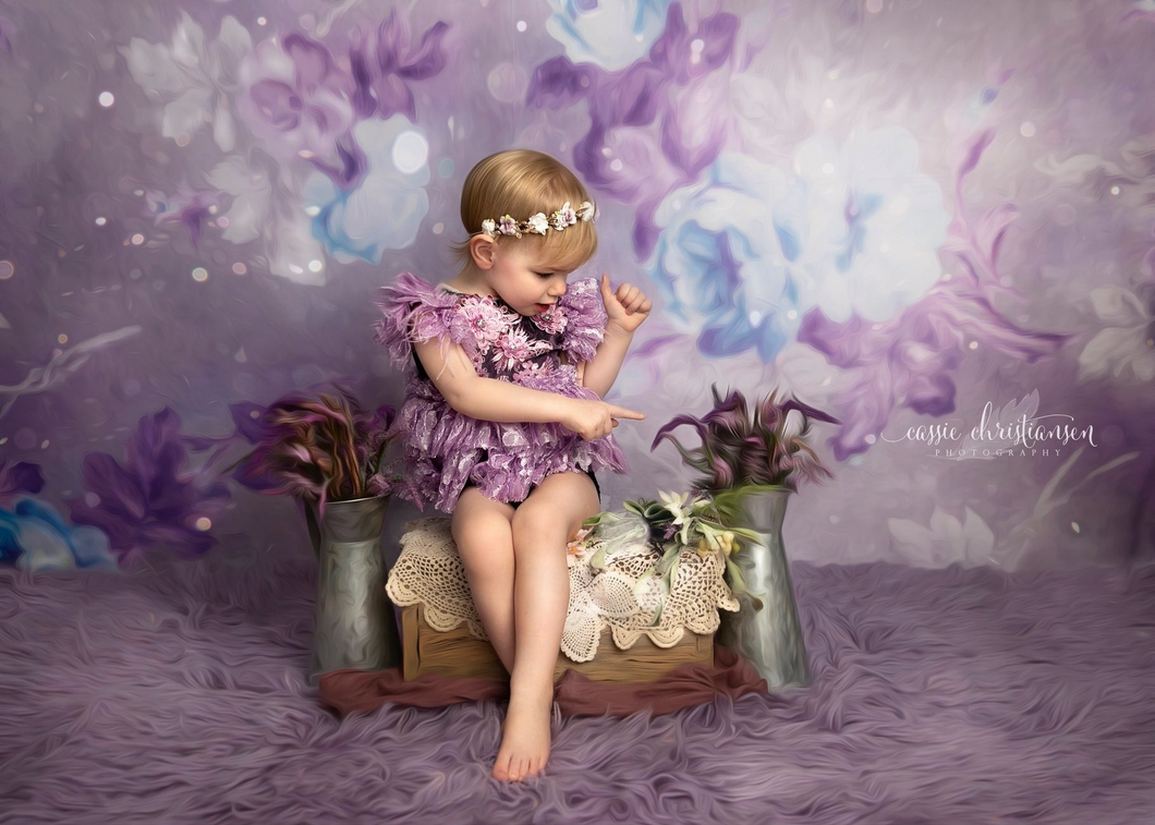 Kate Retro Blurry Bokeh Purple Flowers Backdrop for Photography Designed by JFCC
