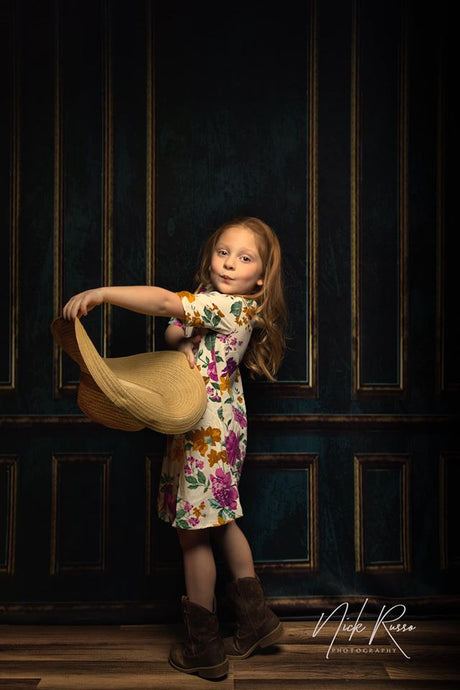 Kate Dark Vintage classical Door wall Backdrop for Photography