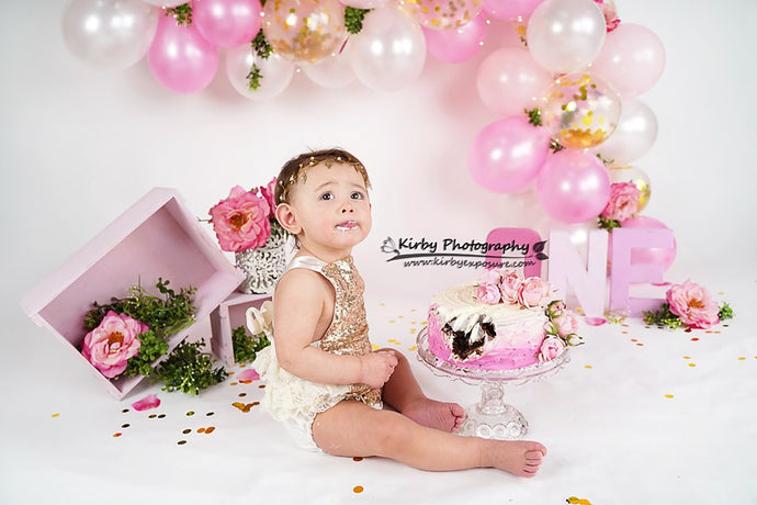 Kate 1st Birthday Pink Balloon and Gardenias Backdrop Designed By Arica Kirby