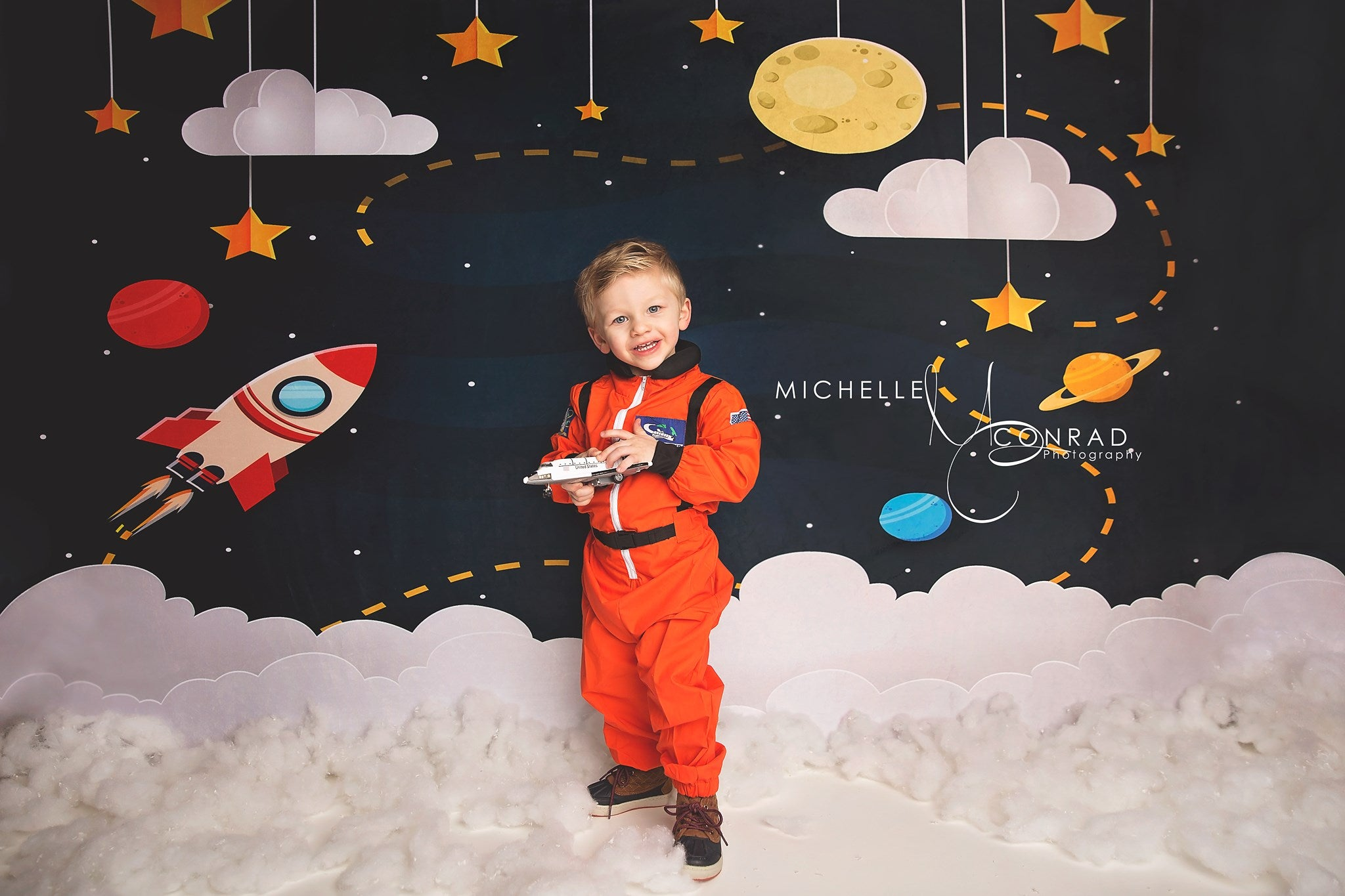 Load image into Gallery viewer, Kate Dark Blue Sky and Yellow Star Backdrop for Children Photography Designed by Amanda Moffatt